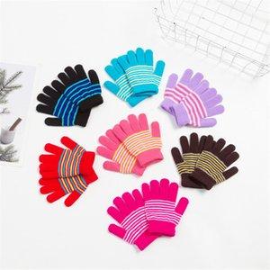 Guantes de invierno de los cabritos de punto Finger niños completa Guantes Guante de 3 colores de punto elástico mitones al aire caliente grueso guante para 7-10Y 13 Colros