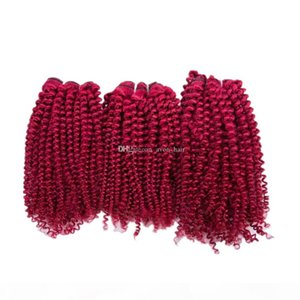 Borgogna colorata Afro Ricci 100% Capelli umani WeFts 3bundles Double WeFted Borgogna Colore Virgin Human Hair Heads Extensions 300G