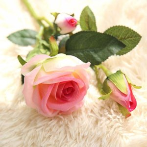 3 Heads Silk Artificial Rose Flowers DIY Real Touch Fake Flower Peony For Home Decoration Wedding Party Christmas Bridal Bouquet