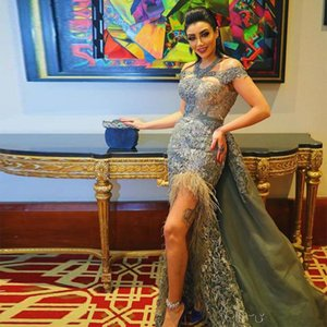 Sexy Aso Ebi Arabic Feather Prom Dresses High Split With Detachable Train Mermaid Evening Dress Appliques Beaded Sweep Train Celebrity Gowns