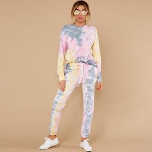 Tie Dye İki Kadın Eşofman Spor Koşucular Tye Eşofman 2 Adet Set Lounge Aşınma Eşofman Kıyafetleri Artı Boyutu Die
