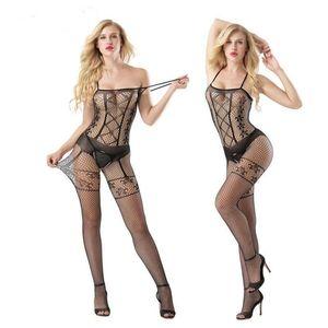 Neue sexy Dessous frauen Aushöhlen transparent Nylon Strumpfbandstrumpf Erotica Unterwäsche Hosenträger Bodysuit Jumpsuits für weiblich