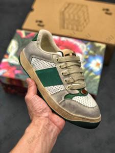 Clásico apenado sucio zapato de cuero screen ace con verde raya roja italia zapatillas de deporte diseño viejo aparece entrenadores de cordones de cordones de cordones de cordones