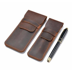wholesale- handmade genuine leather pen bag cowhide pencil bag vintage retro style accessories for traveler's notebook shipping YNVrn