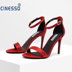 CINESSD 2020 Size 34-40 Women Open-toe high-heel 9 cm Sandals Black Sexy Pumps Ladies Platform Shoes Party Wedding Sandals