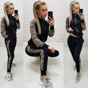 Leosoxs Women's Casual Knitted Printed Zipped Solid Sports Suit Fashion 2 Piece Set Sleevetracksuit Long Pant Suits