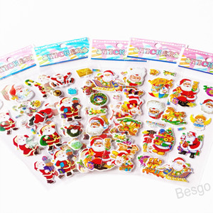 Christmas 3D Cartoon Sticker Christmas Tree Snowman Bell Stickers Santa Claus Wall Stickers Home Decoration Kindergarten Reward BH4299 WXM