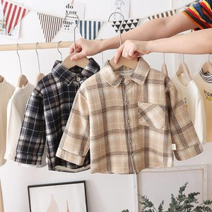 Fashion Boys Shirt New Plaid Style Kids Long Sleeve Shirts Children's Cotton Clothes Baby Boy Girls Thicken Blouses Velvet Tops