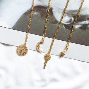 2020 Korean Style Women Personality Generous Alloy Necklace Long Chain Irregular Crescent Key High-grade Gift Neck Accessories