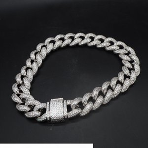 20MM Cuban chain hip hop Europe and America three rows of diamond copper jewelry zircon micro set men bracelet necklace jewelry wholesale