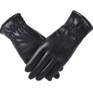 NewPlus High Quality Leather Winter Female Fashion Velvet Warm Black Women Driving Touch Phone Screen Glove Mittens #L10