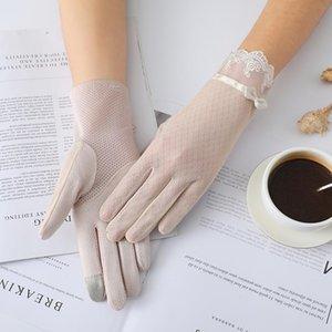 Été Femmes UV crème solaire court soleil écran perle Fleurs Gants Bow mince écran tactile dentelle de soie Viscose gants de conduite J54