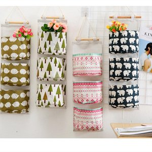 3 Pockets Cute Wall Mounted Storage Bag Cosmetic Toys Closet Organizer Clothes Hanging Storage Bag Children Room Home Decor