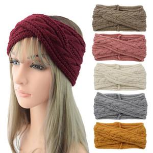 24 colors Knitted Crochet Headband Women Turban Yoga Head Band Winter Sports Hairband Ear Muffs Cap Headbands YYA548