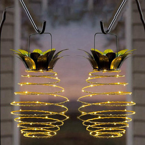 Pineapple Solar Lights Stringed Lamps Waterproof Hanging Solar Light Garden Walkway Camping With Handle Christmas Party Decoration LJJP629