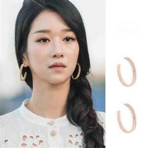 2020 Retro Metal Geometric C shape Gear Big Hoop Earrings for Women Jewelry