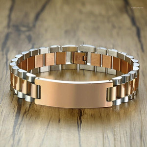Gents Two-Tone Rose Gold Tone President-Style with ID Tag Plate Link Watch Band Bracelet Inspiration Engravable Men Jewelry1