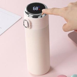 Edelstahl Wärmevakuumflasche Intelligente Temperaturmessung Bounce Tragbare Studenten Thermosung Flaschenbecher Meer Versand DWE2971
