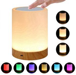 LED Abajur ajustável inteligente lâmpada de cabeceira Amizade criativa Veio de Madeira Desk Luz de cabeceira quarto Lampe Bed Noite Luzes DHD2373