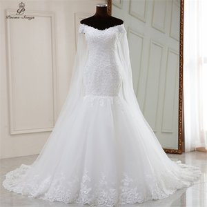 photo Real video mermaid wedding with long shawl 2020 marriage dress robe mariee vestidos de novia sereia C0929