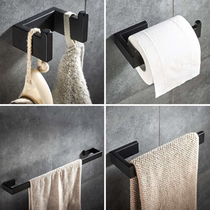 Matte Black Bathroom Accessories Set 4-pcs Towel Bar Wall Mounted Hardware Set Towel Ring Robe Hook toilet roll paper holder LJ201211
