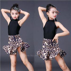 Leopard Print Girls Latin Dance Fringe Dress Kids Ballroom Competition Evening Party Stage Performance Clothing Top+Skirt Set