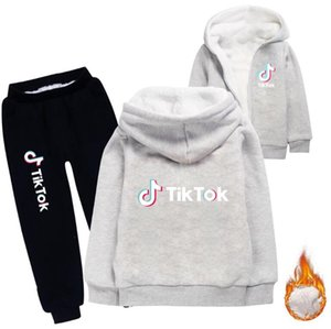 Tik Tok Set For Big Boy Girl Plush double layer Tracksuit Clothes Autumn Winter Tiktok Kid Hooded Sweatshirt+Pant 2PC Outfit Children Sport