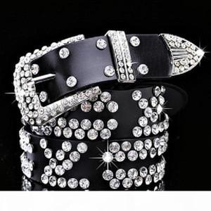 Ins fashion luxury diamond zircon letter genuine leather designer belt for female women girls 113cm 125cm