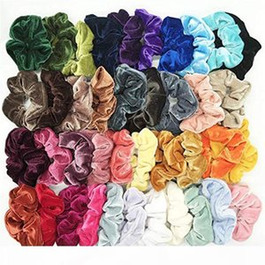 lot Fine Cheap Velvet Elastic Hair Bands Scrunchy Hair Rope for Women Girls Grooming Accessories Whoelsale Jewelry J#29