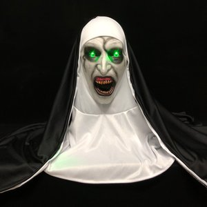 LED Horror The Nun Mask Cosplay Scary Valak Latex Masks with Headscarf Led Light Halloween Party Props Deluxe 1007