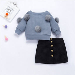 Baby Girls Clothes Plush Ball Long Sleeve Top + Skirt Suit Boys Clothing 2pcs Kids Clothing Toddler Winter Clothes Girls Outfits 201126