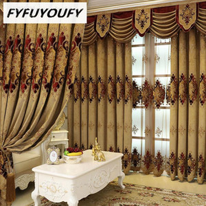 Chenille Jacquard European luxury classic embroidery shade decorative curtains for Living Room Bedroom Royal Gold curtains