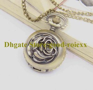 Fashion Rotating roses Women's Men Pocket Watch Necklace Accessories Sweater Chain Ladies Hanging Mens Quartz Watches AA00159
