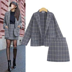 Hodisytian Ins Fashion Women Blazer Sets Slim Fit Plaid Summer Check Suit Blazer+Skirts Casual Twinset Skirts Femme Plus Size