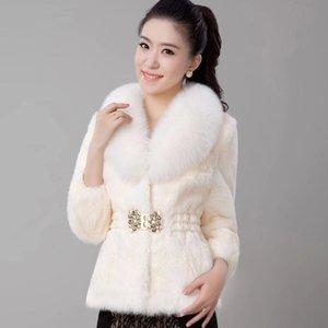 Casaco de pele feminino 2020 novo outono e inverno versão coreana do imitation rex peles colarinho curto casaco slim
