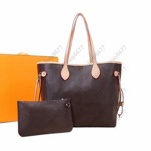 최고 품질 패션 가방 2pcs 세트 여성 가방 및 작은 가방 갈색 꽃 격자 어깨 가방 핸드백 숙녀 핸드백 레이디 메신저 지갑
