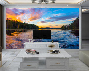 3d Modern Wallpaper Mural 3d Wallpaper Beautiful Sunset Forest River Water Scenery Living Room Bedroom TV Background Wall Wallpaper