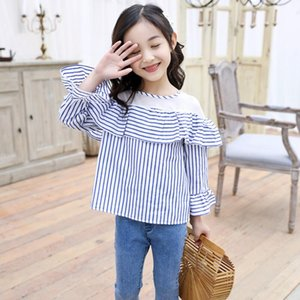 2019 Spring Toddler Teen Girls Lace Blouse Top White Child Clothes Long Sleeve School Girl Shirt Kids Tops 6 8 10 12 Year