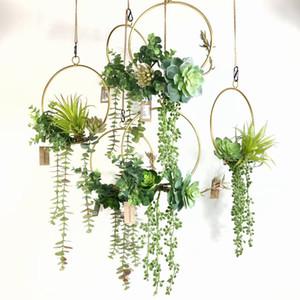 Plantas suculentas Geometric Metal Wire grinalda Hoop Quadro Artificial parede Garland suspensão da flor do partido Decoração do casamento de Fundo 1027