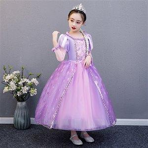 Maiden Snow Princess robe pour les filles d'Halloween pour enfants Costume d'été Long Purple luxe robe boule Parti enfants Robe