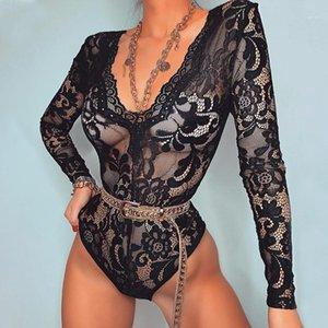 Sexy Rompers Fashion Longues Sans manches Couleur Naturelle Jumpseuits de dentelle Mesh Daceted Jumpsuits Sheer Hollow Out