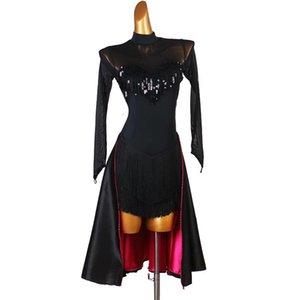 latin dans kostümleri kadın salsa dancewear dans kostüm elbise balo salonu rekabet elbiseler yetişkin siyah payet tango