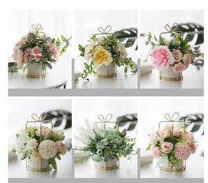 Имитация цветок костюм керамика золото ваза искусственные розы моделирования растений в горшках дом гостиной декоративные цветы