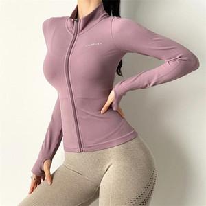 Осень бесшовные спортивные пальто женские молния обучение быстрой сухой фитнес бегущий куртка стойка воротник туго тренажерный зал одежда йога топы