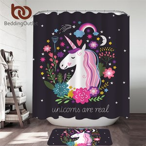 BeddingOutlet Unicorn Cartoon Shower Curtain Set for Kids Bathroom Flower Rug Mat Rainbow Bath Curtain Star Moon cortina de ba o Towel