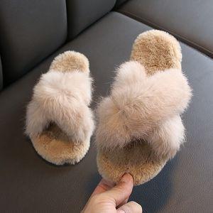 Real Fox Slippers Kids Winter Fur Home Slides Girl Flop Flips Raccoon Fluffy Cute Baby Flats Beach Summer Children Boys Shoes 201125