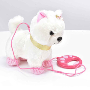 Robot Dog Sound Control Interactive Dog Electronic Plush Pet Toys Walk Bark Leash Teddy Toys For Children Birthday Gifts 1020