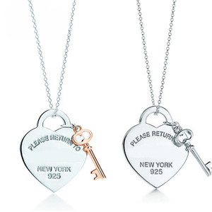 2020! TIF 925 Sterling Silber herzförmige Schlüsselschloss Anhänger Halskette Exquisite Clavicle-Kette, ihr Herz, nur Sie können F1222 öffnen