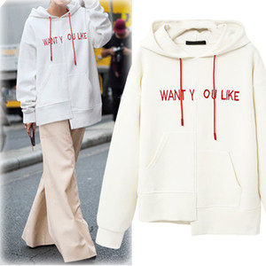 European and American spring and autumn new all-match women's fashion irregular casual hooded loose long-sleeved women's sweater