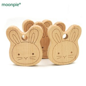 20pcs x 70mm DIY unfinished bunny ear carving wooden beech teether rattle 2.75 inch DIY fitting Handcrafted baby gift EA56-1 201017
